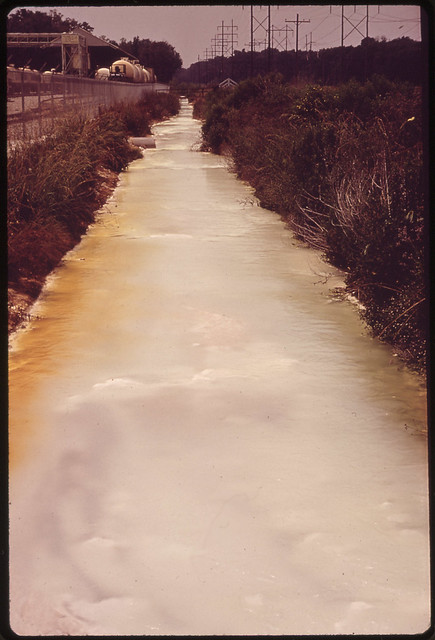 Contaminated Water in Drainage Ditch behind Pittsburg Glass Company, Documerica by Marc St. Gil (1924-1992).