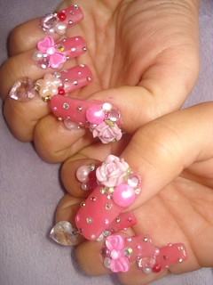★Pinky rose, heart and bow nails★