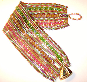 Pink, Orange and Green Beaded Cuff Bracelet