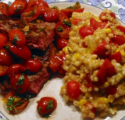 Pan-Seared Steaks w/ Cherry Tomato Sauce & Barley Risotto