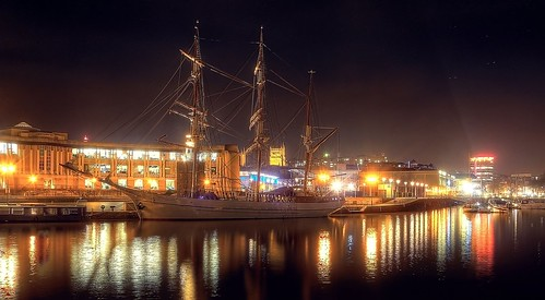 Bristol Floating Harbour at night by Peter Brabham