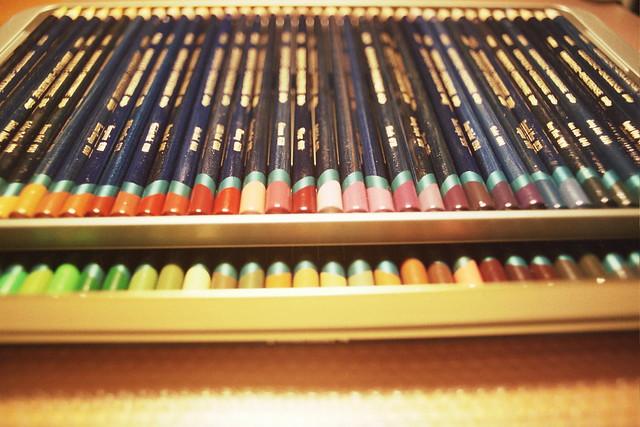 My desk : Derwent Inktense coloured pencils