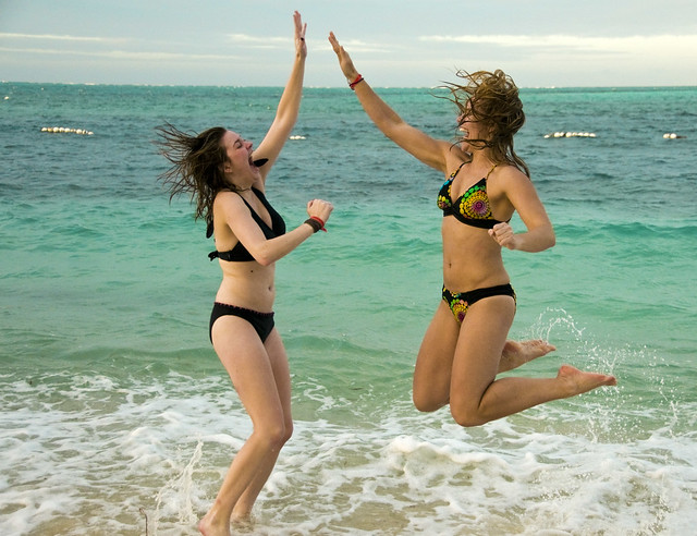 Girls On Beach Nassau Bahamas