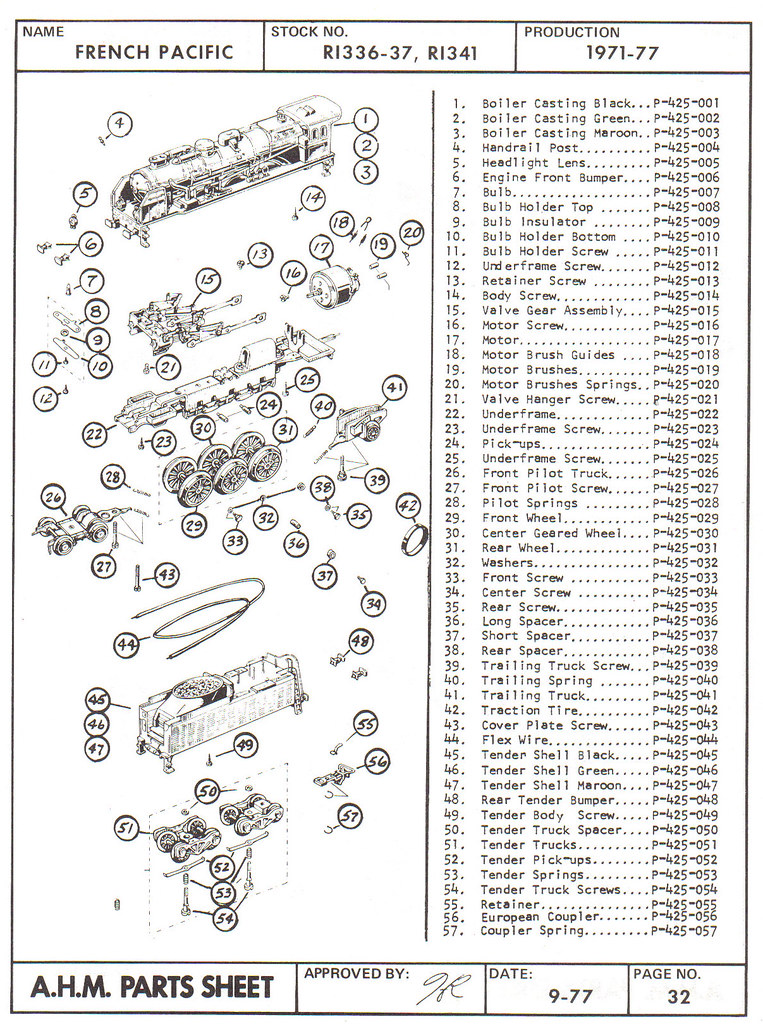 Locomotive Parts Catalog : French pacific