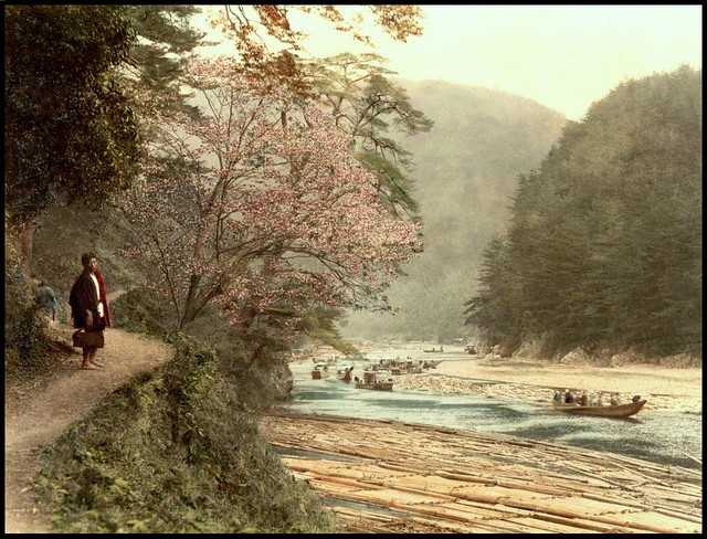 A RIVERSIDE FOOT PATH IN THE SHADE OF OLD JAPAN