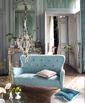 Modern fabric romantic french living room duck egg for Damask wallpaper living room ideas
