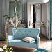 Modern fabric: Romantic French living room + duck egg velvet sofa + damask wallpaper