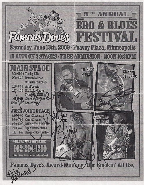 06/13/09 Famous Dave's BBQ-Blues Fest, Minneapolis, MN - Autographed Flyer