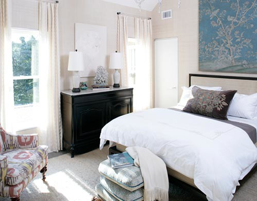 Blue + White + Brown Bedroom: Colors Of Sea + Sand In Beautiful Hamptons  Home