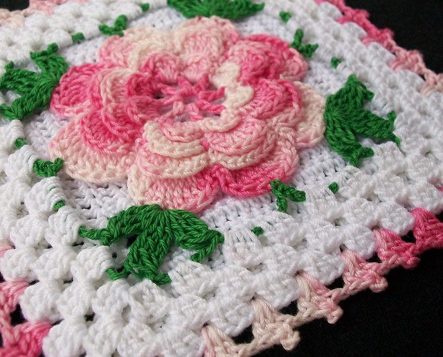 Crochet Patterns Of Roses : Thread Crochet Potholder with Pink Rose Flickr - Photo ...