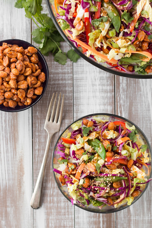 Asian Peanut Salad with Sweet & Spicy Honey Roasted Peanuts
