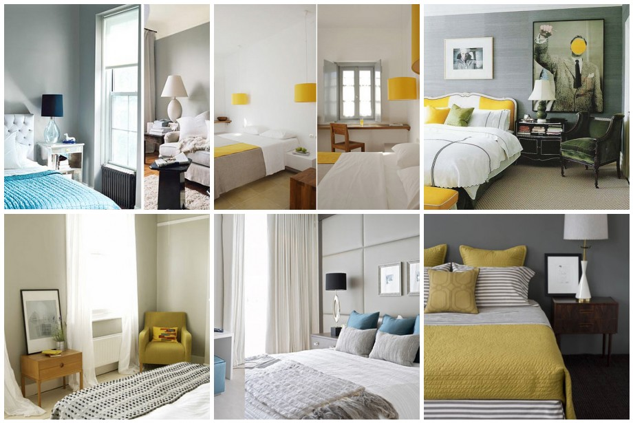 Bedroom inspiration gray yellow turquoise a photo for Yellow grey bedroom designs