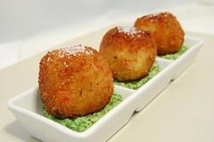 dessert(0.0), fishcake(1.0), panko(1.0), croquette(1.0), fried food(1.0), crab cake(1.0), arancini(1.0), rissole(1.0), fritter(1.0), korokke(1.0), produce(1.0), food(1.0), dish(1.0), cuisine(1.0), beignet(1.0), fast food(1.0),
