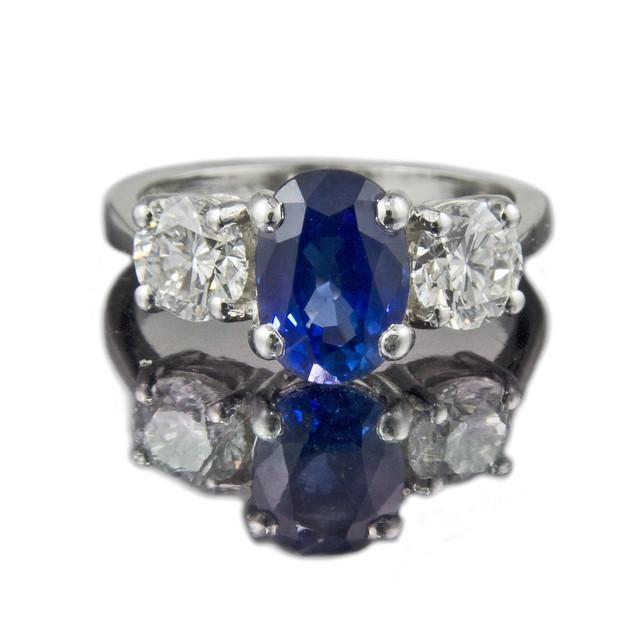 Cushion Cut Ceylon Sapphire Engagement Ring
