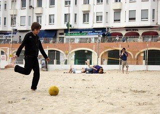 Image of Plage des Catalans. sea beach marseille kid soccerball saxo