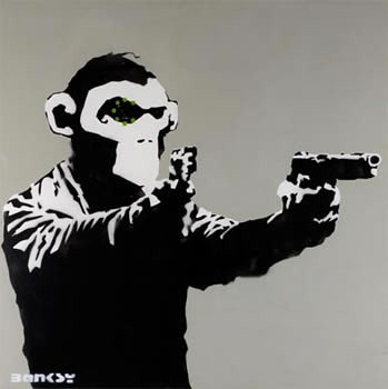 Banksy Canvas Monkey Guns