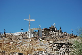 Crosses at the summit of cemetery, San Rosalia, Baja California Sur, Mexico