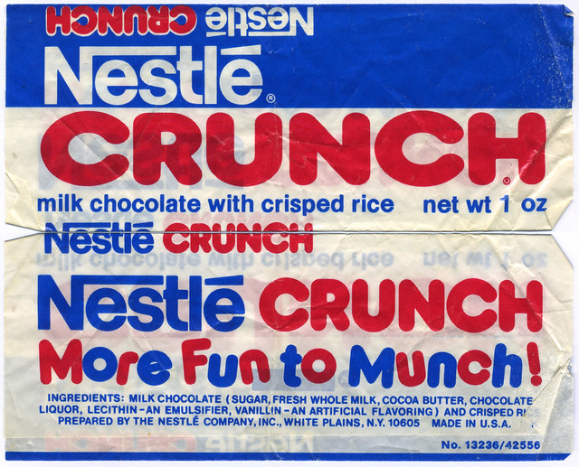 Nestle Crunch bar wrapper - More Fun to Munch - 1970's