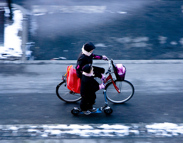 Home from Sledding - Cycling in Winter in Copenhagen