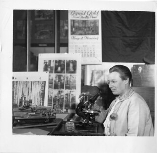 Eloise Gerry (1885-1970), shown at microscope