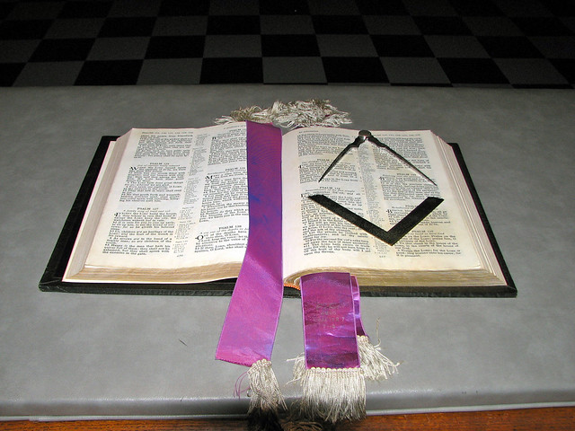 Holy Bible, Square, And Compasses
