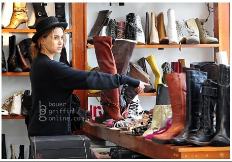 Nikki Reed shopping.