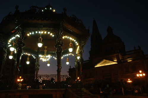 Lights around the art Art Nouveau Gazebo, iron female figures, Cathedral, Guadalajara public square, Jalisco, Mexico by Wonderlane