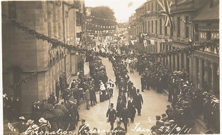 Ross & Cromarty Constabulary officers escorting Coronation procession through Tain in  1911