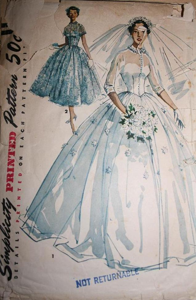 Vintage sewing pattern 1950s big poufy wedding dress full for Wedding dress patterns vintage