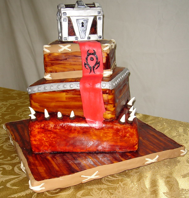 World of warcraft wedding cake with horde banner and sugar treasure chest