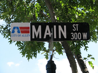 Main Street sign, Allen, Texas