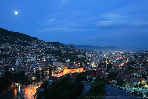 old city moon mountains night dawn town hall europe long exposure downtown sarajevo bosnia canoneos20d hills herzegovina canonef1740mmf4lusm daybreak