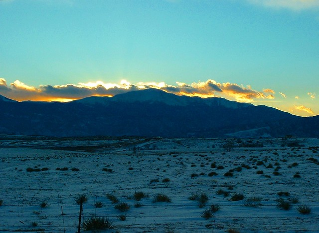 PIKES PEAK WINTER SUNSET