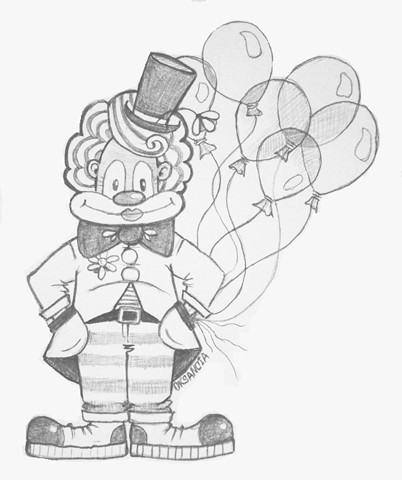Clown With Balloons Sketch Pencil Sketch I Made For My V Flickr