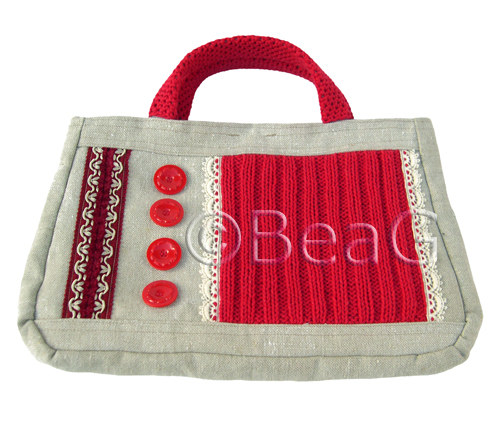 Handbag 'Red Stitches' (Handtas)