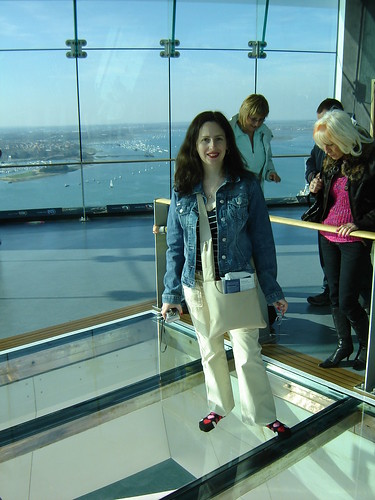 On the glass floor panel of the Spinnaker Tower