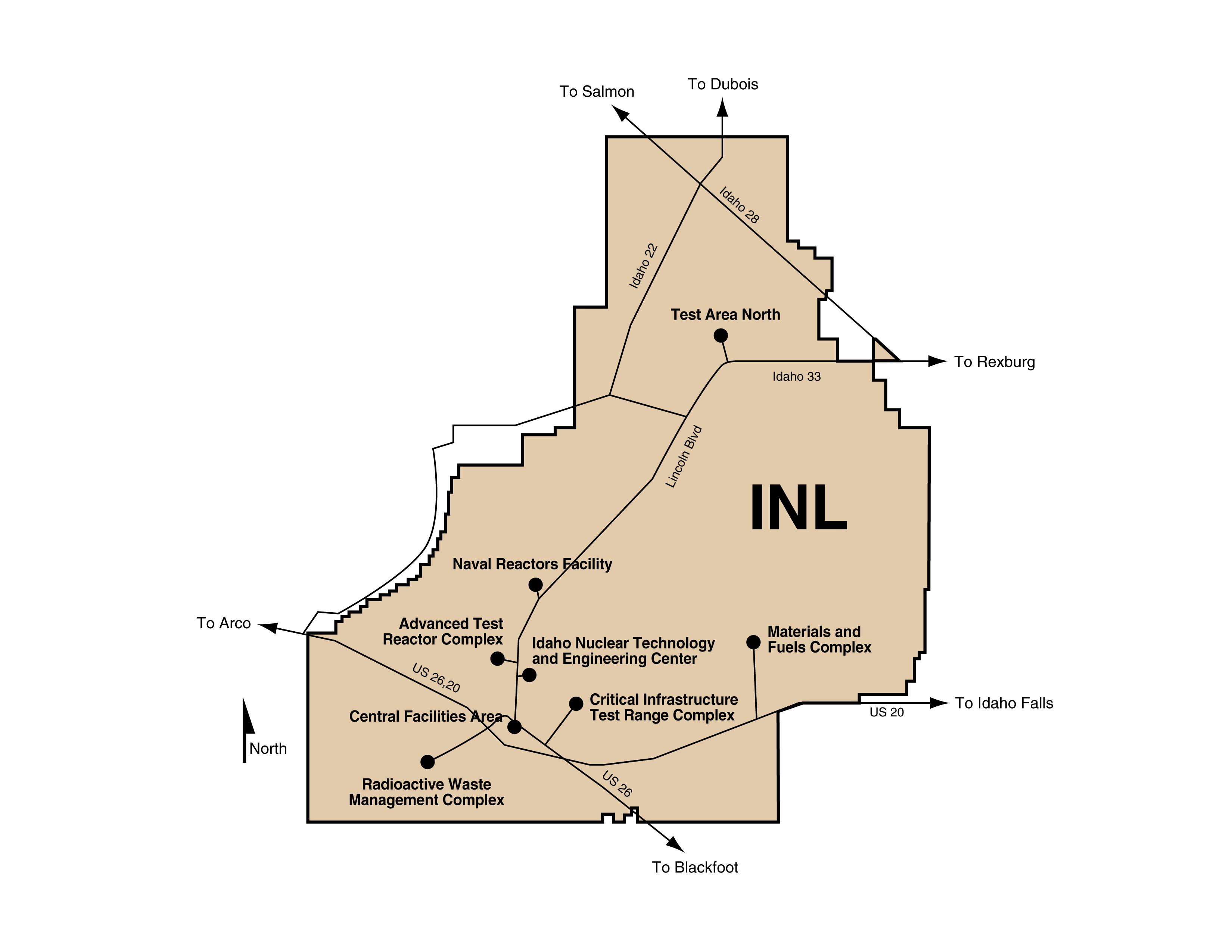 INL Desert Facilities  Map Depicting The Modern Desert