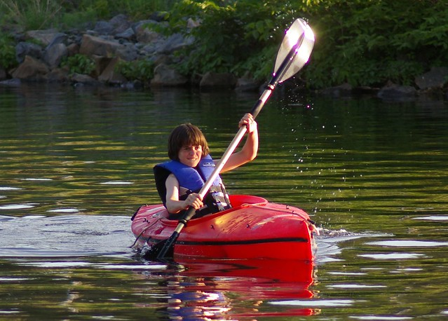 Connor in the kayak