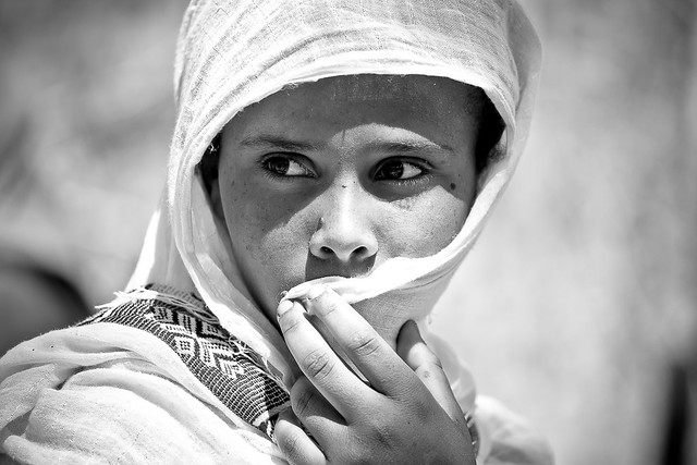 portrait of a girl  outside the St. Mary Zion Church in axum, tigray