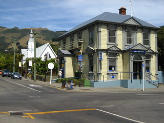the Bank of New Zealand building in Akaroa, New Zealand