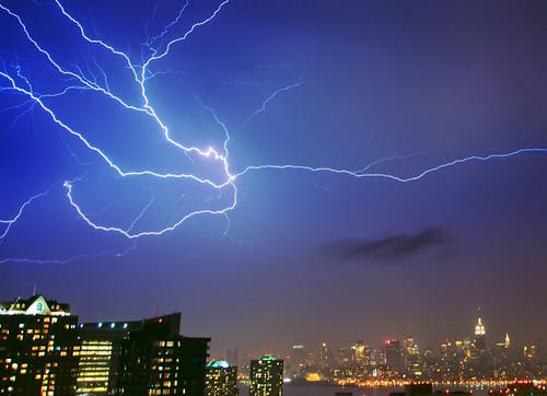 nyc newyorkcity longexposure storm night skyscraper dark geotagged jerseycity esb empirestate lightning chryslerbuilding mudpig stevekelley iacbuilding
