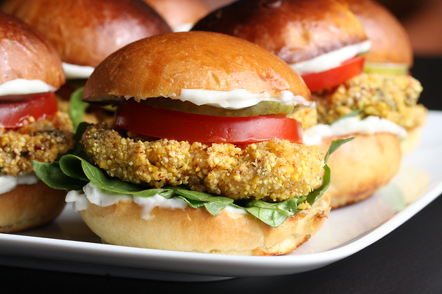 Oyster Po' Boy Sliders | Fresh oyster po' boy sliders (aka p ...