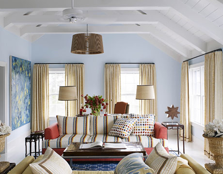 Beach cottage style: Blue living room + playful pattern mix + 'Clear Skies' by Benjamin Moore