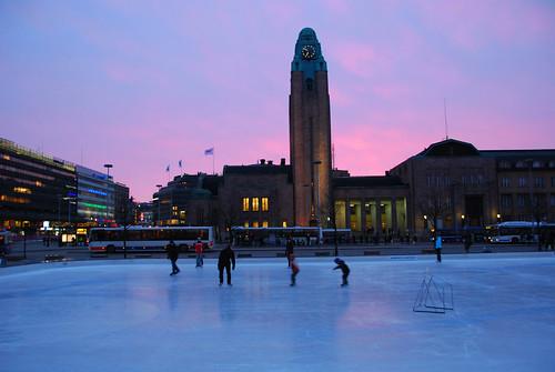 Ice-skating at Sunset