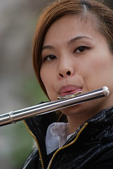 flute, nose, face, western concert flute, musical instrument, close-up, mouth, person, portrait, eye, flautist,