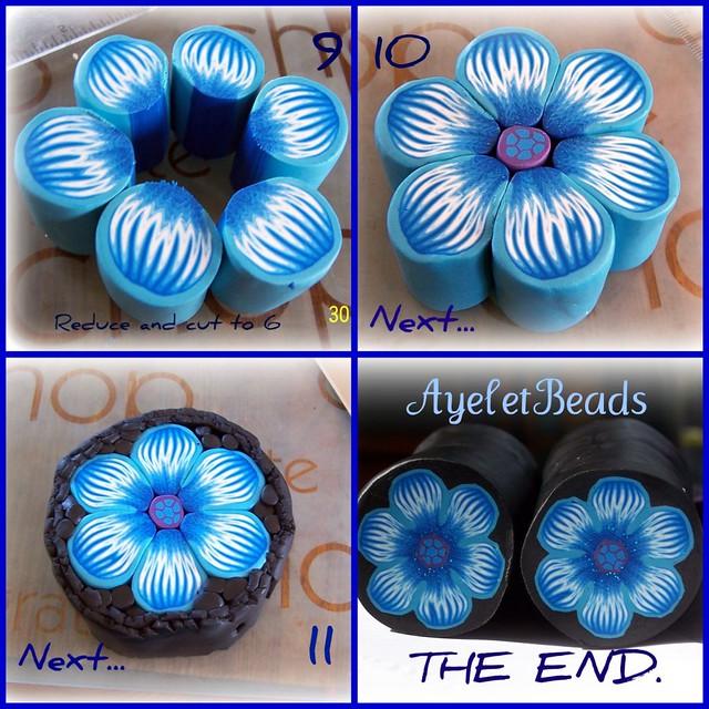 Цветок из пластики голубой