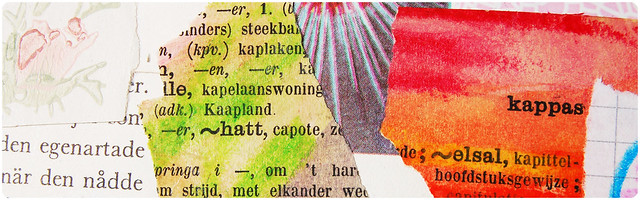 Collage with text blocks in Art Journal (from Woordenboek) by iHanna