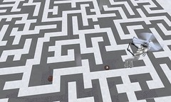 floor(0.0), outdoor structure(0.0), font(0.0), design(0.0), drawing(0.0), monochrome(0.0), brand(0.0), flooring(0.0), art(1.0), symmetry(1.0), white(1.0), maze(1.0), line(1.0), circle(1.0), toy(1.0),