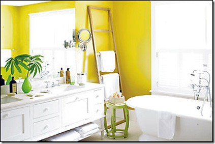Yellow   white bathroom   green accents: 'St. Elmo's Fire' by Benjamin