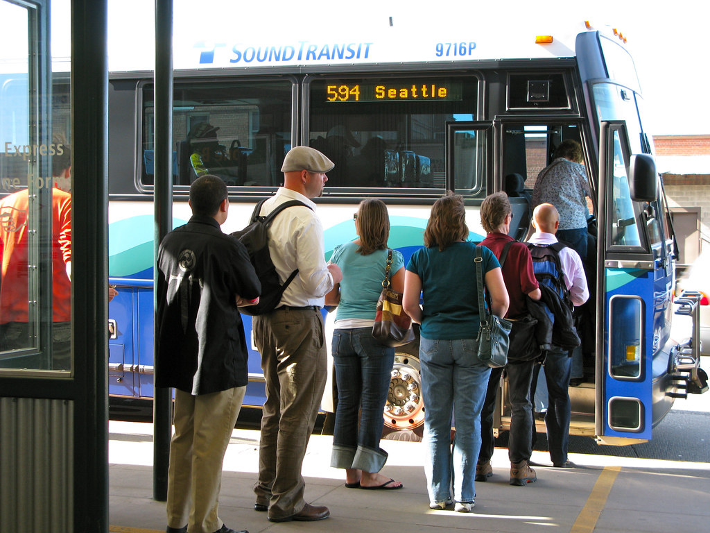 Boarding 594 to Seattle at Tacoma Dome Station